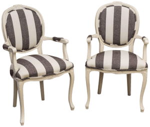 Antiques Diva Styles a Diva Den for Chairish Charcoal and white stripes chairs
