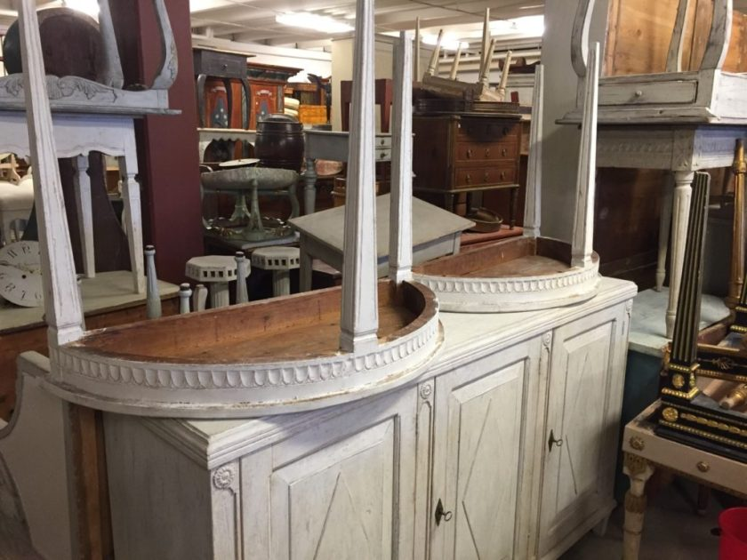 Sweden- Antique Buying Services- Pair of Gustavian style demi lunes