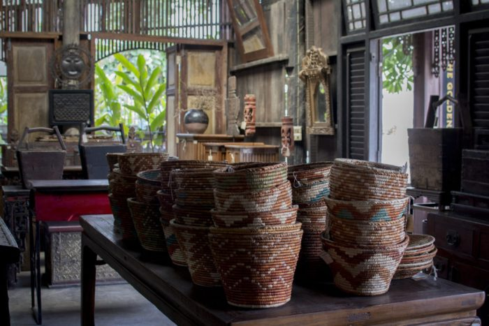 Handwoven Baskets on Antique Asian Furniture Antiques Diva Asia Buying Tours Thailand: Chiang Mai