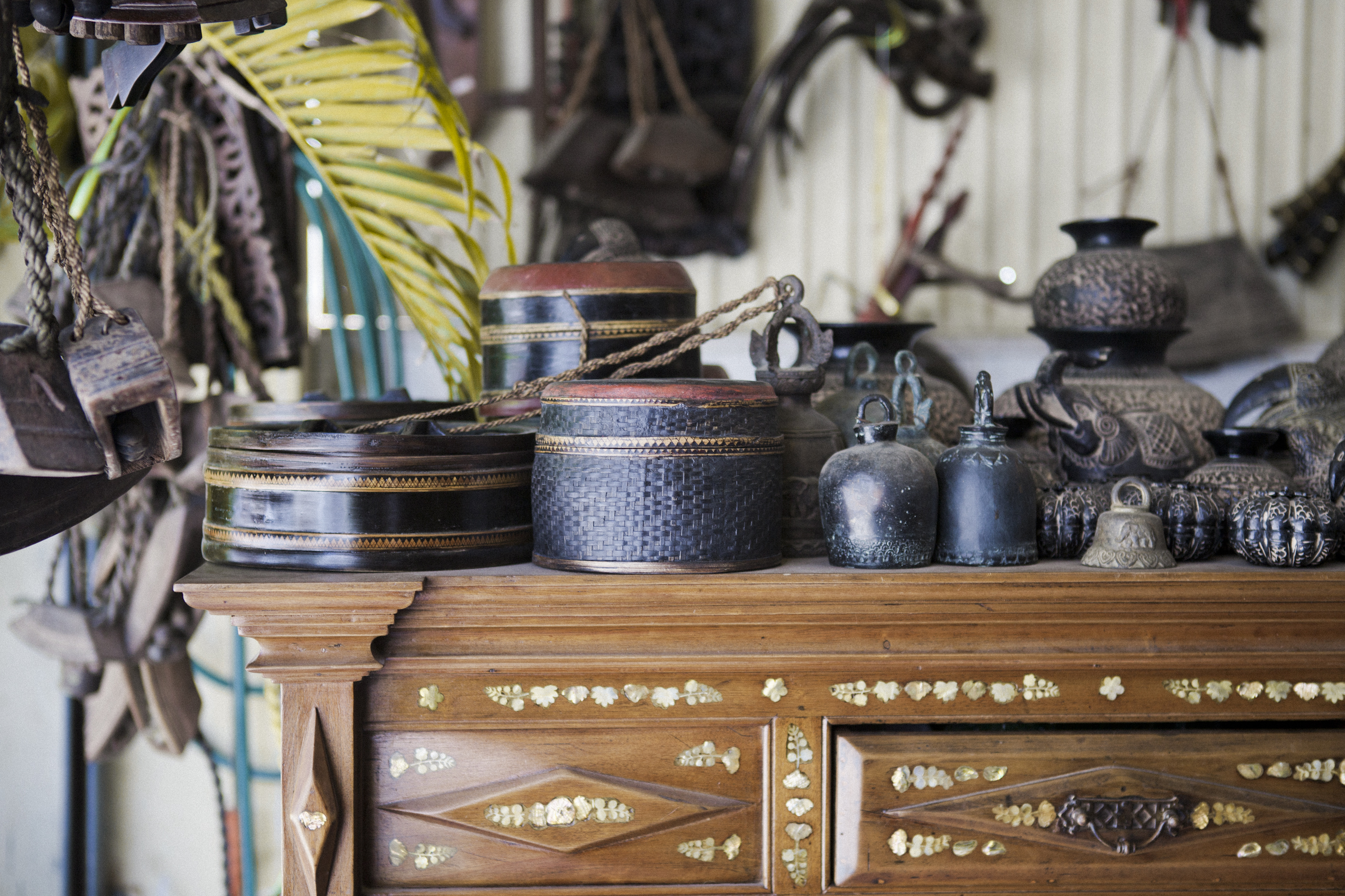 Bronze Bells, Bamboo Containers, Carved Cow Bells Phnom Penh Cambodia Asia Antiques Buying Tours with The Antiques Diva