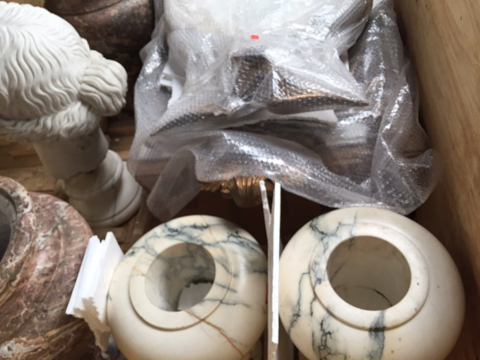 Smaller pieces packed at AD&CO Logistics: Crating, packing and shipping antique statuary