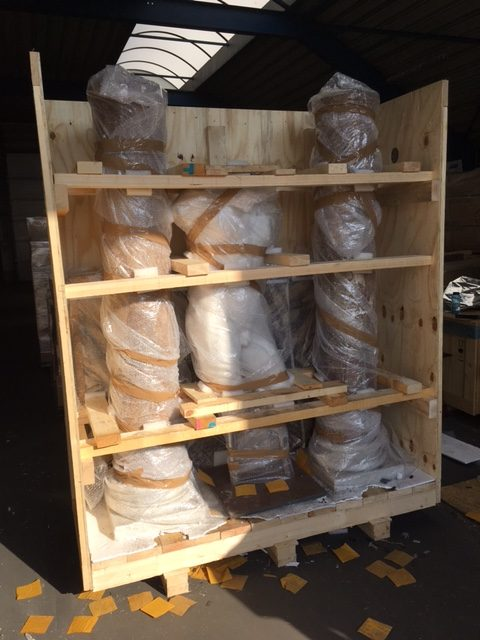 Crating, packing and shipping antique statuary and columns by AD&CO Logistics international shipping