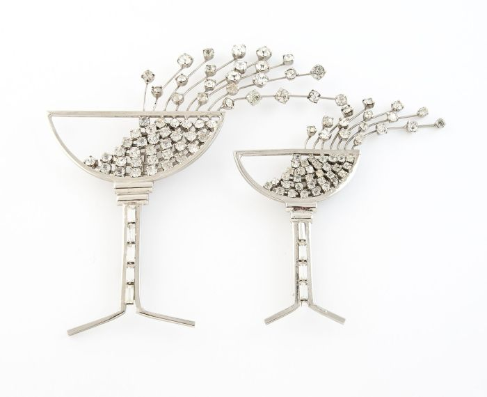 Pair of champagnes glasses brooches c1985, Ugo Correani, Italy