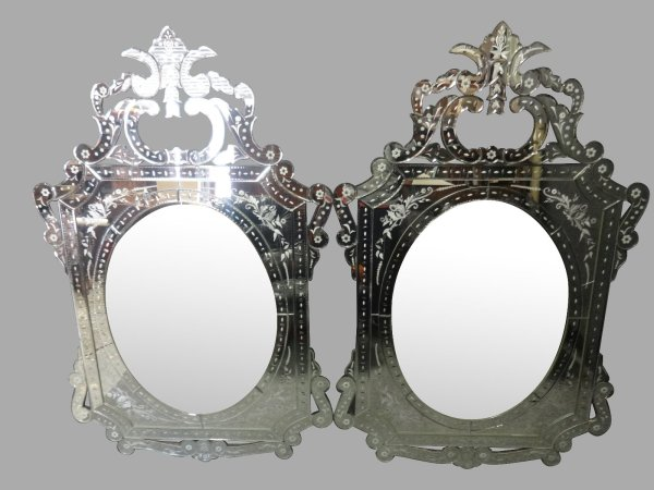 Pair of Cut Glass Gypsy Mirrors | Fernyhough Antiques