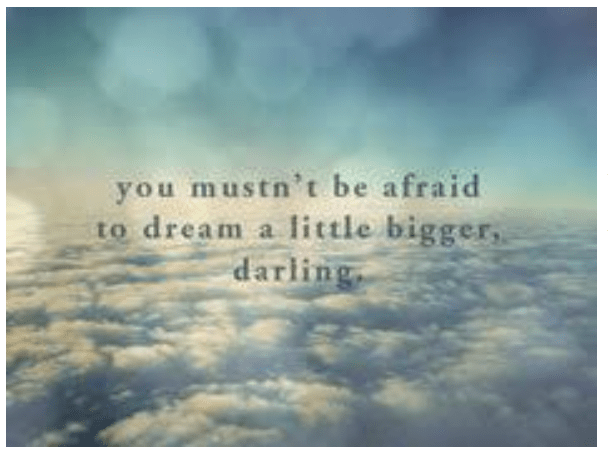 You mustn't be afraid to dream a little bigger