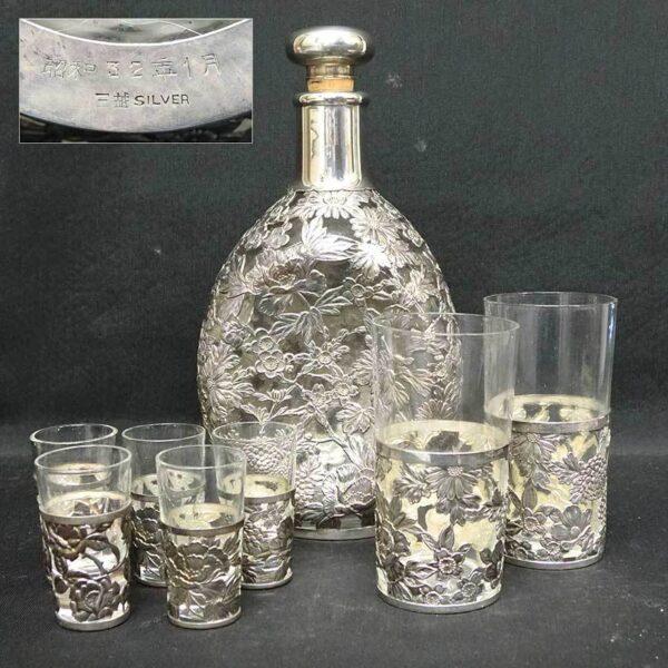 彫金花図金工細工銀被硝子ボトル