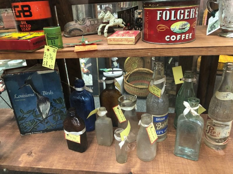 Antique bottles and cans