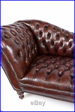 1970s Vintage Henredon Chesterfield Tufted Leather Sofa