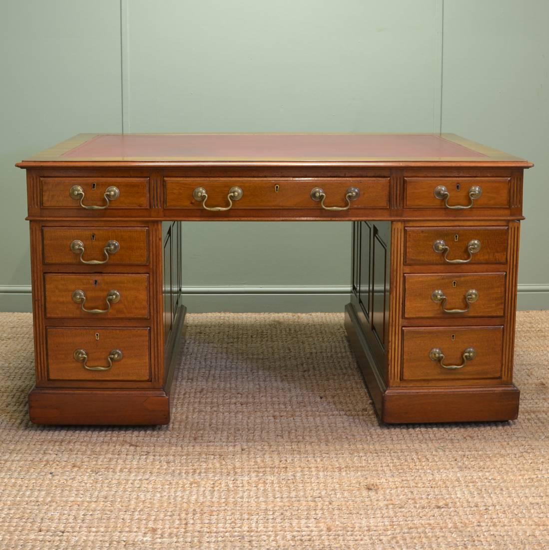Large Edwardian Walnut Antique Pedestal Desk