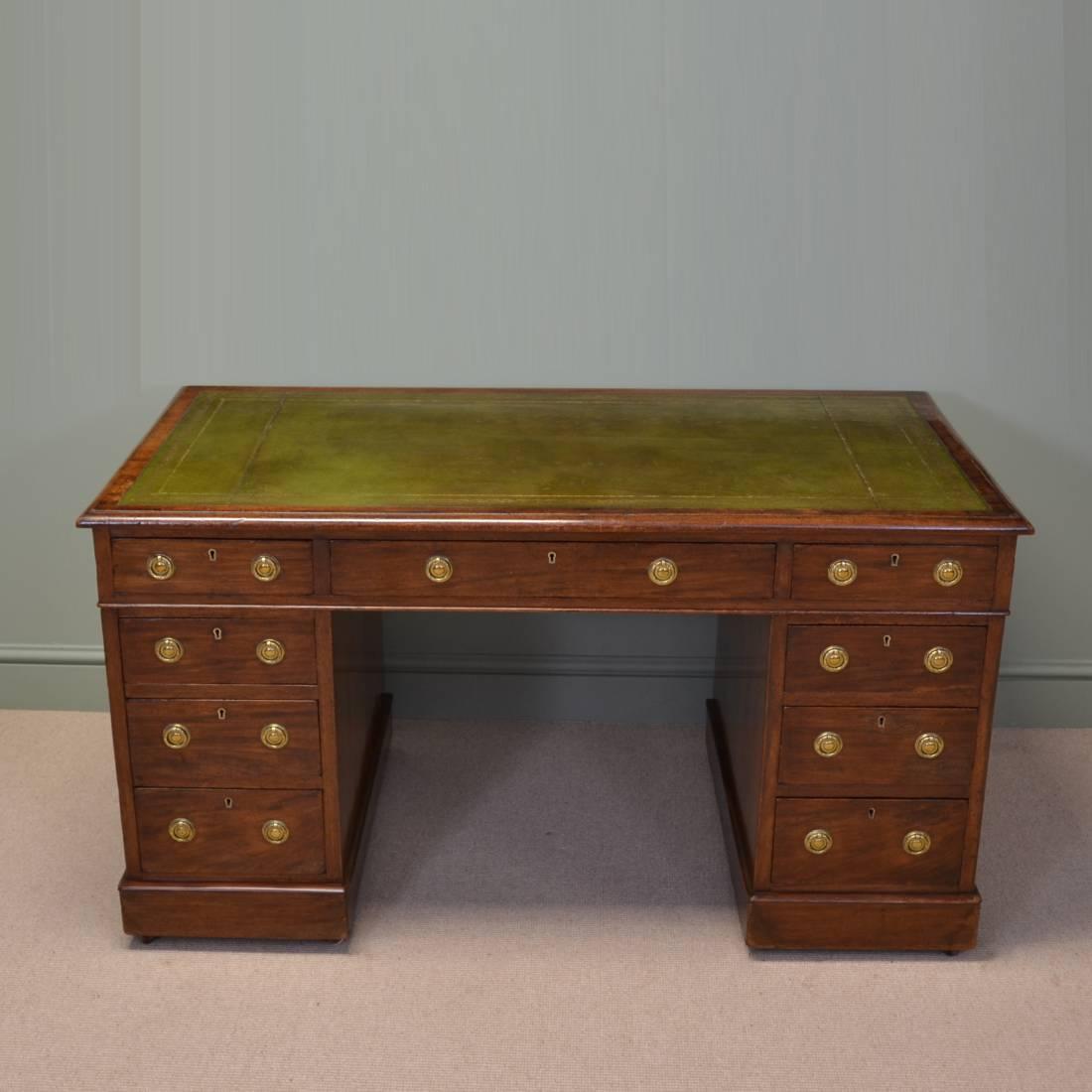Large Victorian Mahogany Antique Pedestal Desk