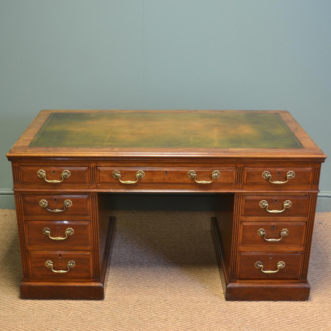Large Victorian Walnut Antique Pedestal Desk