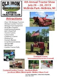 MI - 4th Annual Old Iron Antique Tractor Show @ McBride Park