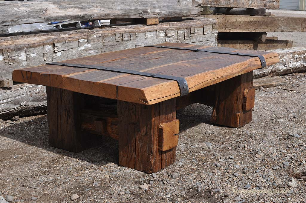 Reclaimed Wood Coffee Table With Iron Straps