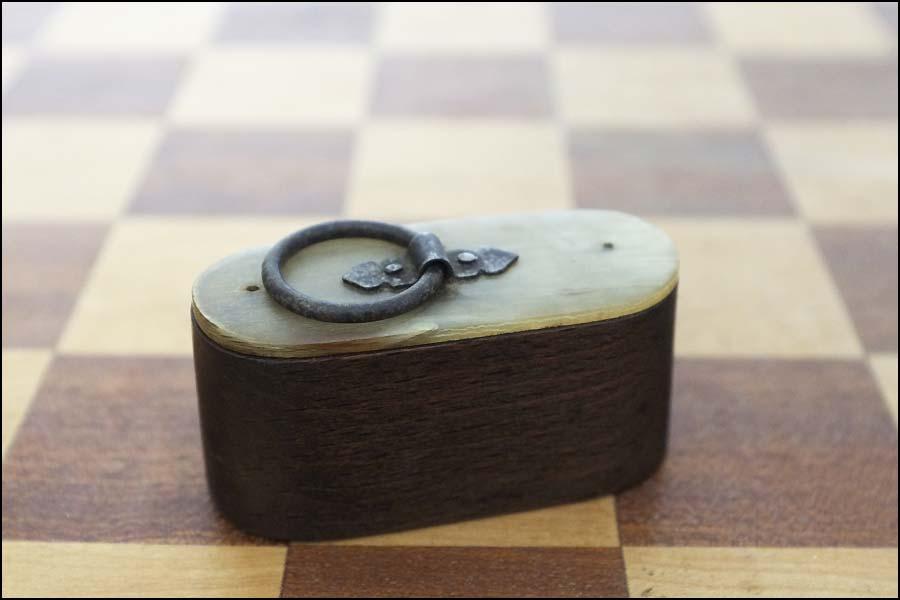 Tabatière bois et corne à priser