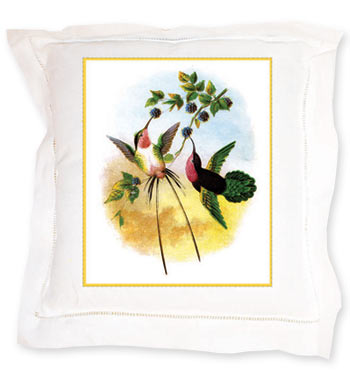 Hummingbirds Linen Pillow