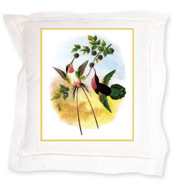 Hummingbirds Linen Pillow