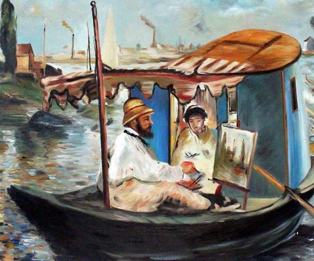 Claude Monet peignant sur un bateau