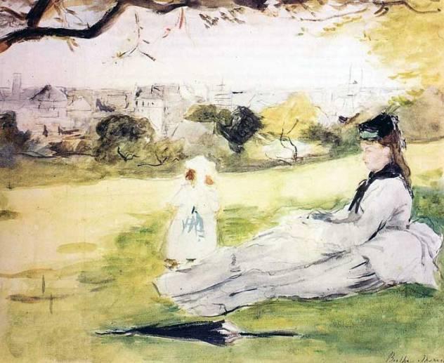 femme et enfant assis-dans un pré