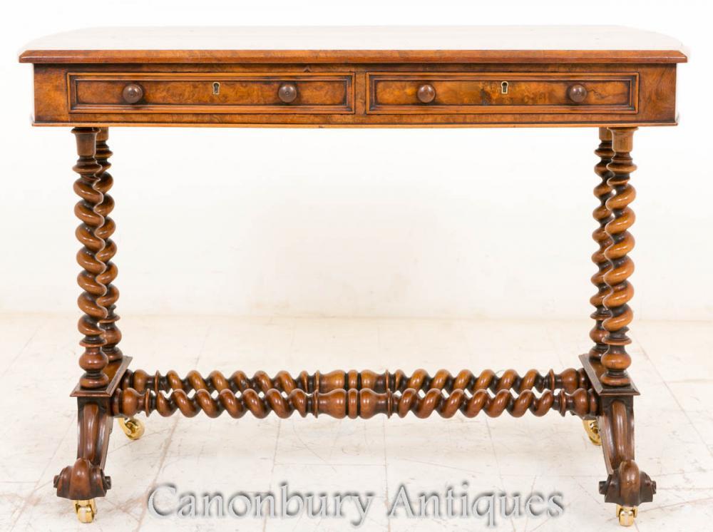 antique victorian burr cote noyer table console orge twist jambes