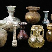 Roman Yellow Marbled Glass Unguentarium