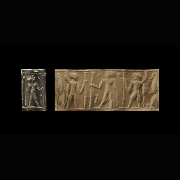 Jordanian Cylinder Seal with Nude Figures