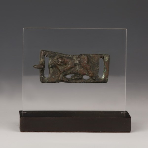 Parthian Belt Buckle with a Fighting Scene