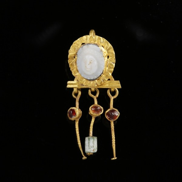 Rare Roman Cameo Gold Earring