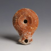 Roman Terracotta Oil Lamp with Geometric Decoration