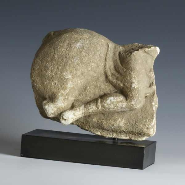 Sizeable Marble Fragment Of Horse & Rider