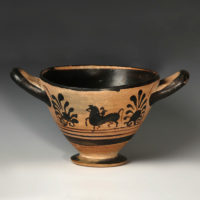 Greek attic black figure ware skyphos