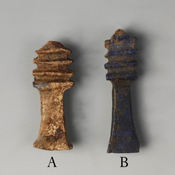 Egyptian Lapis Djed Pillar Amulets
