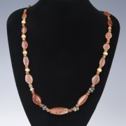 Greek Gold Carnelian Bead Necklace