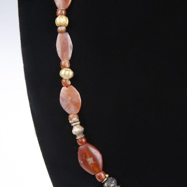 Greek Gold Carnelian Bead Necklace