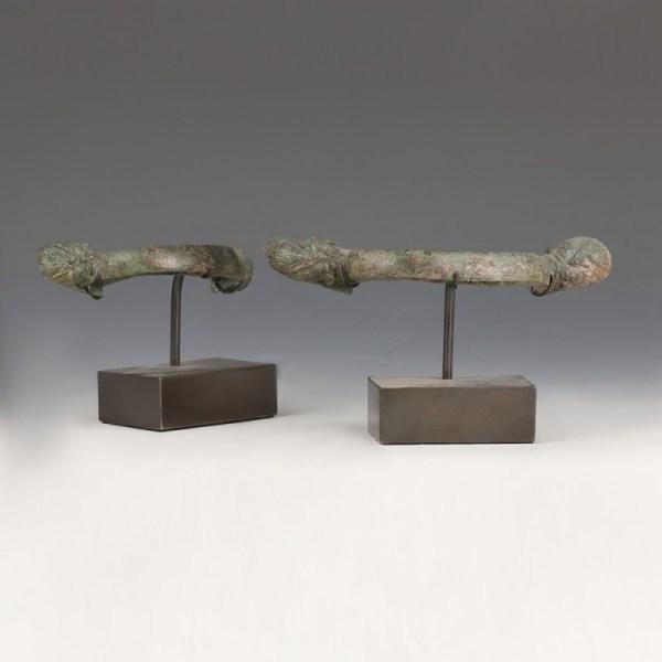 Greek Pair Of Bronze Handles
