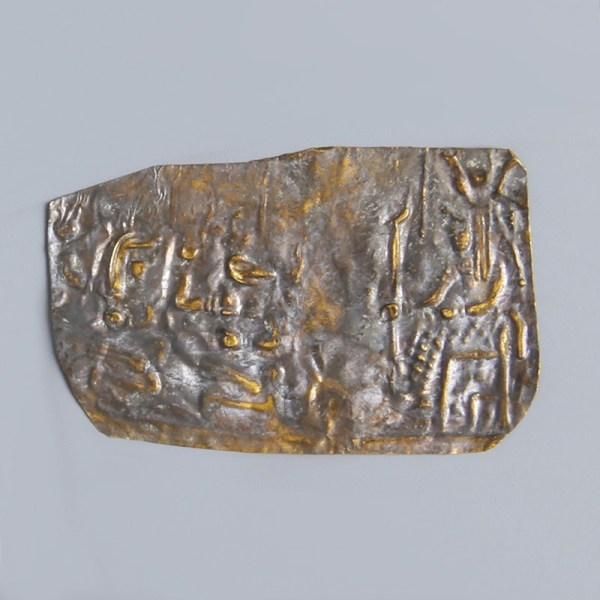 Egyptian Gold Repoussé Plaque with Hathor Scene