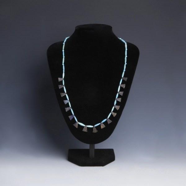 Egyptian Bead Necklace with Lapis Lazuli Lotus Flower Amulets