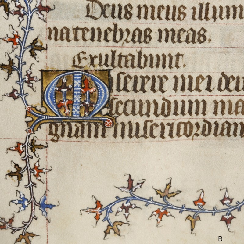 Medieval Book of Hours illuminated leaf