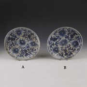 Chinese Kangxi Blue and White Dishes with Chrysanthemum Decoration