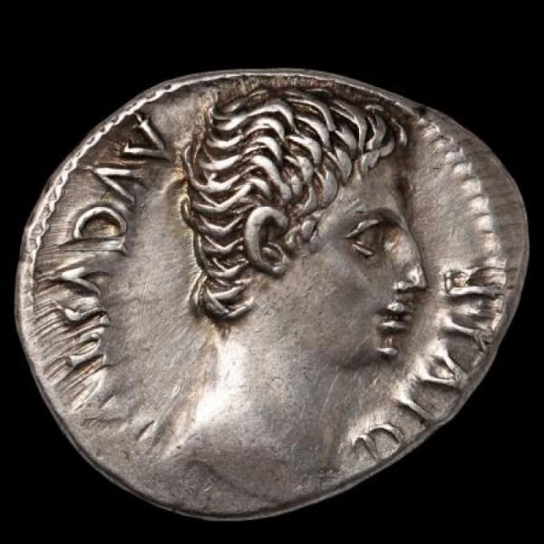 Augustus Ar. denarius (15 - 13 BC) – Actium victory