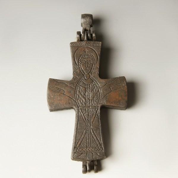 Byzantine Enkolpion Cross with Mary & Child