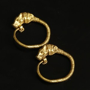 gold ancient greek earrings