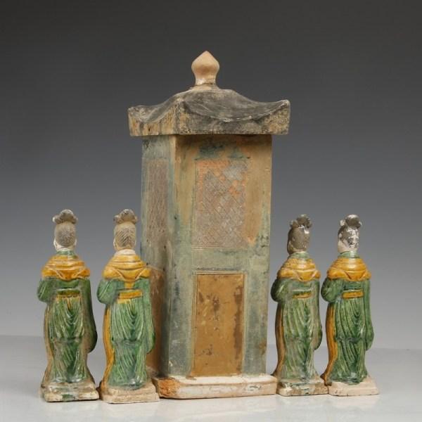 Ming Dynasty Green-glazed Attendants & Palanquin