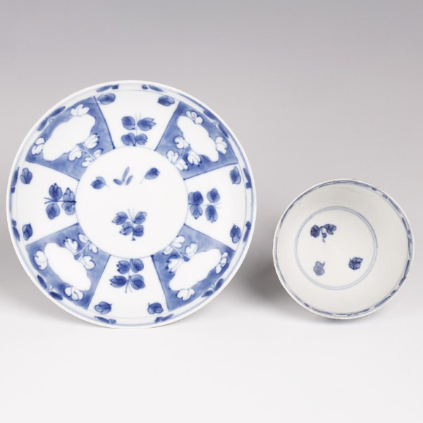 Blue and White Saucer and Cup Set