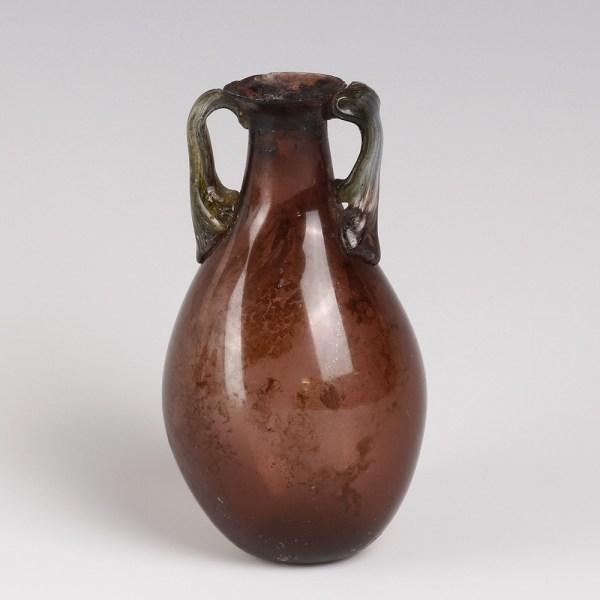 Ancient Roman Aubergine Glass Flask