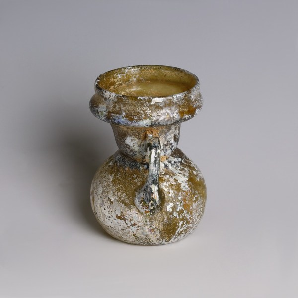 Roman Glass Sprinkler Flask with Trailed Handles