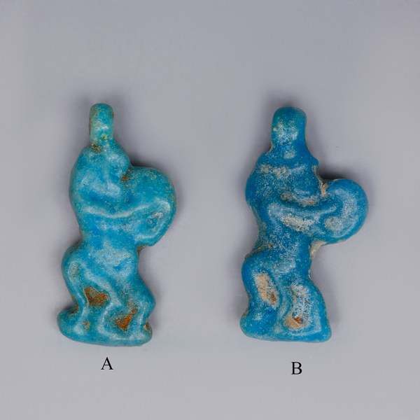 Egyptian Faience Amulets of Bes with a Tambourine