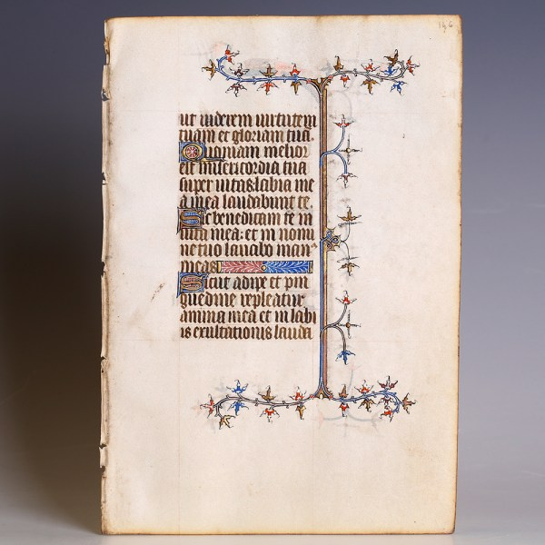 Medieval Book of Hours Leaf with Psalm 62