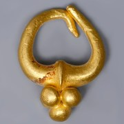Near Eastern-Western Asiatic Single Gold Earring with Granules