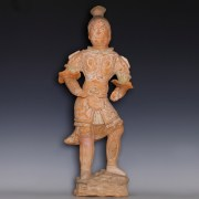 Tang Painted Terracotta Warrior Guardian Figurine