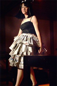 rags to riches newspaper dress